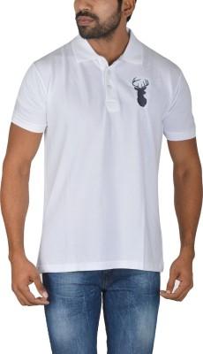 Le beau Solid Men's Polo White T-Shirt