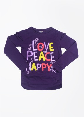 People Printed Girl's Round Neck Purple T-Shirt