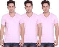 LUCfashion Solid Men's V-neck Pink T-Shirt(Pack of 3)