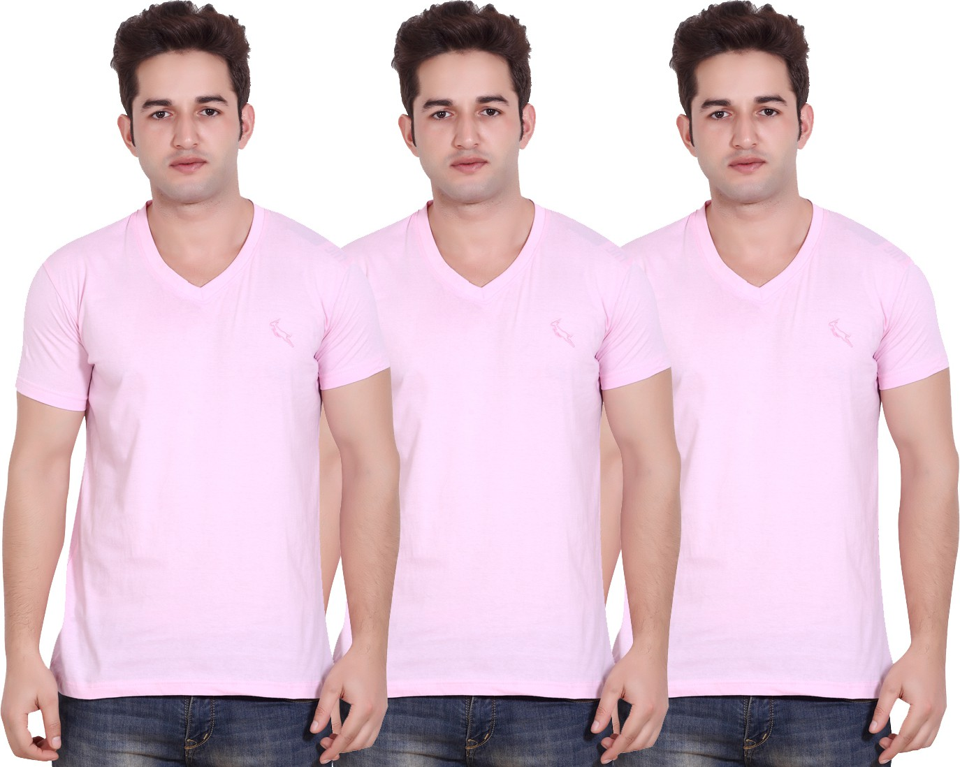 LUCfashion Solid Men's V-neck Pink T-Shirt(Pack of 3) - Casual Wear