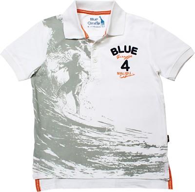 Blue Giraffe Printed Boy's Polo Neck White T-Shirt