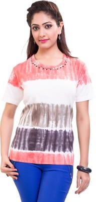 TVENO Printed Women's Round Neck Red T-Shirt