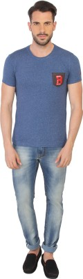 Being Human Clothing Printed Men's Round Neck Blue T-Shirt