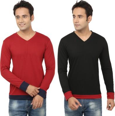 Jangoboy Solid Men,s V-neck Maroon, Black T-Shirt