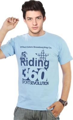 FASHION KA KEEDA Printed Men,s Round Neck Blue T-Shirt