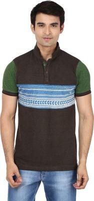 Minute Merge Printed Men's Mandarin Collar Brown T-Shirt