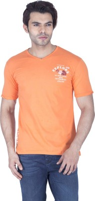 Integriti Printed Men's V-neck Orange T-Shirt