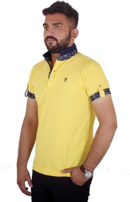 MjString Solid Men's Flap Collar Neck Yellow T-Shirt