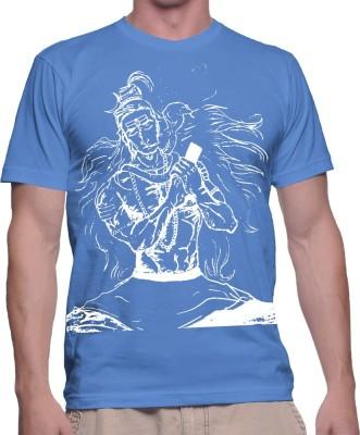 fak Graphic Print Men's Round Neck Blue T-Shirt