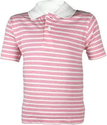 ANT Self Design Boy's Polo Neck Multicolor, Pink T-Shirt