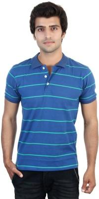 Shra Striped Men's Polo Blue, Green T-Shirt