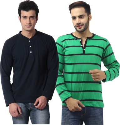 Leana Striped Mens Henley Multicolor T-Shirt