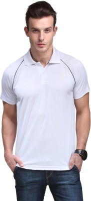 Alpha Male Solid Men's Polo Neck White T-Shirt