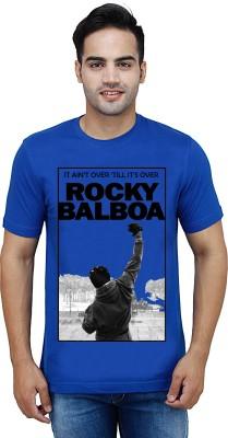 Teens Tees Printed Men's Round Neck Blue T-Shirt