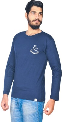 Indian Royal Solid, Embroidered Men's Round Neck Dark Blue T-Shirt