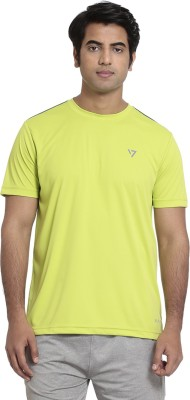SEVEN Solid Men's Round Neck Green T-Shirt