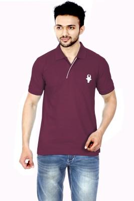 Gumality Solid Men's Polo Neck Maroon T-Shirt