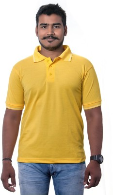 Colours99 Solid Men,s, Boy's Polo Neck Yellow T-Shirt