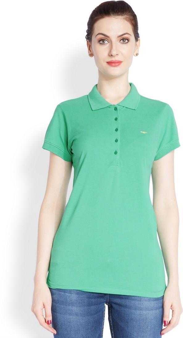 Park Avenue Solid Womens Flap Collar Neck Dark Green T-Shirt