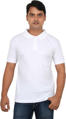 LOOX by Apoorti Solid Men's Polo Neck White T-Shirt
