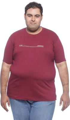 PlusS Solid Men's Round Neck Maroon T-Shirt