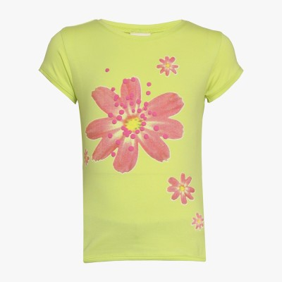 Tales & Stories Floral Print Girl's Round Neck Yellow T-Shirt