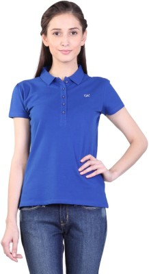 Kidley Solid Women's Polo Neck Blue T-Shirt