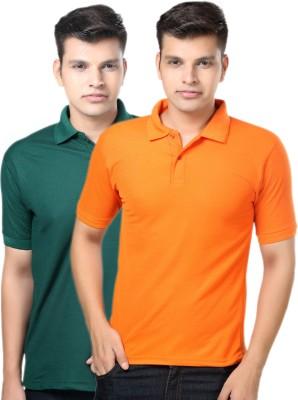 eSOUL Solid Men's Polo Neck Dark Green, Orange T-Shirt
