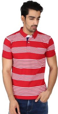 Easies Striped Men's Polo Neck Red T-Shirt