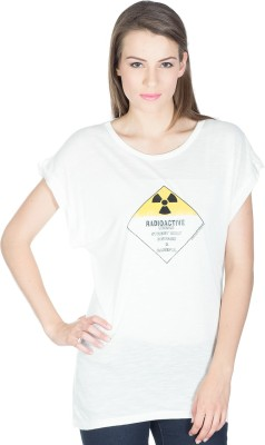 Miss Chick Solid Women's Round Neck White T-Shirt