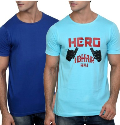 Moodlay Printed, Solid Men's Round Neck T-Shirt