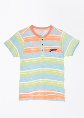 Cherokee Kids Striped Boy's Henley Blue, Green, Orange T-Shirt