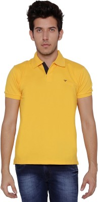 Threadz Solid Men's Polo Yellow T-Shirt