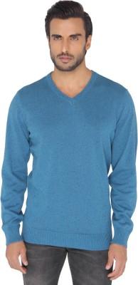 Jadeblue Self Design Men's V-neck Blue T-Shirt