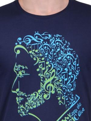 Slingshot Printed Men's Round Neck Blue T-Shirt