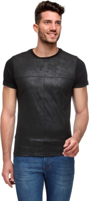 Wear Your Mind Geometric Print Men's Round Neck Black T-Shirt