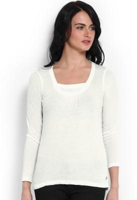 ESPRESSO Solid Women's Round Neck White T-Shirt