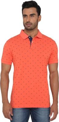 Greenfibre Printed Men's Polo Neck Orange T-Shirt
