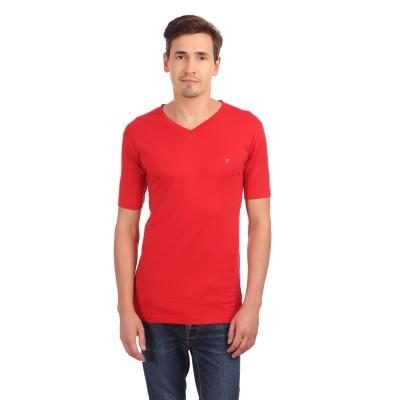 Neva Solid Men's V-neck Red T-Shirt