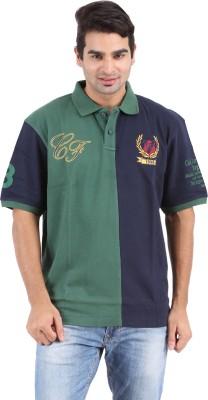Furore Solid Men's Polo Green, Dark Blue T-Shirt