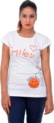 Yellow Kite Solid Women's Round Neck White T-Shirt
