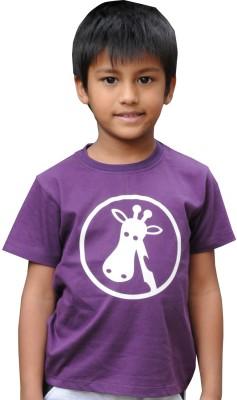 Snowflakes Printed Boy's Round Neck Purple T-Shirt