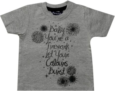 Big Tree Printed Baby Boy's Round Neck Grey T-Shirt
