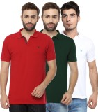 Youthen Solid Men's Polo Neck Green, Whi...