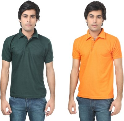 Stylish Trotters Solid Men's Polo Dark Green, Orange T-Shirt