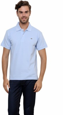 Lemon & Vodka Solid Men's Polo Neck Light Blue T-Shirt