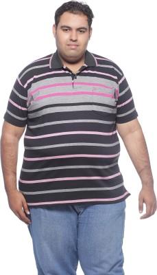 Pluss Solid Men's Polo Neck Black T-Shirt