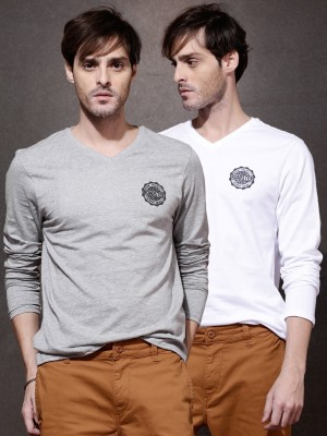 Roadster Solid Men's Round Neck Grey T-Shirt