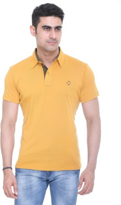 Colors and Blends Solid Men,s Polo Neck Yellow T-Shirt