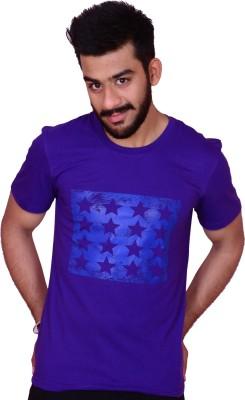 Inez Printed Men's Round Neck Purple T-Shirt